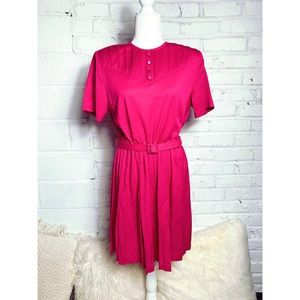 Vintage hot pink 80's belted dress